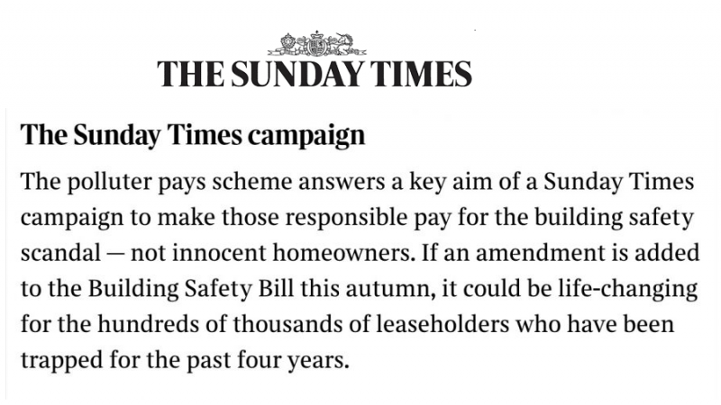 The Sunday Times backs the Polluter Pays Bill and some other updates